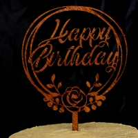 Happy Birthday Wooden Cake Topper with Flower