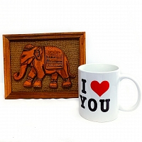 Traditional Elephant Frame with I Love You Mug