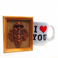 Traditional Hand Made ගරා Face with I Love You Mug