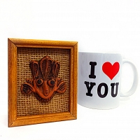 Traditional Hand Made නාග Face with I Love You Mug
