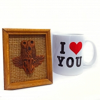 Traditional Hand Made ගුරුළු Face with I Love You Mug