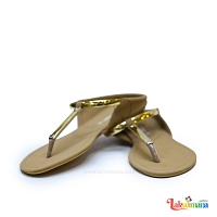 Ladies Baige Slipper with Gold Trim