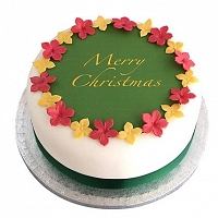 Mixed Flower Happy Christmas Cake - 1Kg