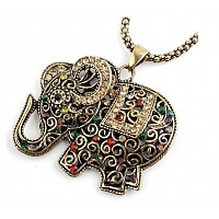 Vintage Fashion Antique Long Chains Necklaces Elephant Pendants