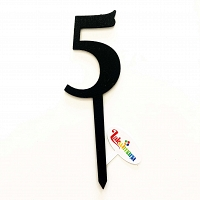 Number Five Wooden Cake Topper