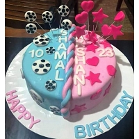 Pink & Blue Birthday Cake - 1.5Kg