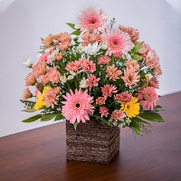 Pink Jebra and Chrysanthemum Mixed Kithul Basket