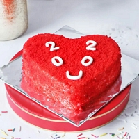 Red Heart Shape 2020 Cake