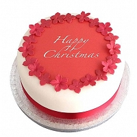 Red flower Happy Christmas Cake - 1Kg