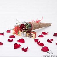 Single Red Rose with Chocolate