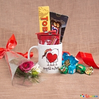 Sweet Mug With Single Red Rose