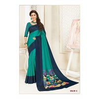 Teal With Blue Soft Cotton Artwork Saree