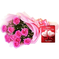 10 Pretty Pink Roses bunch