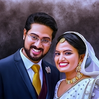 Wedding Couple Digital Painting