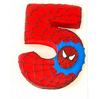 Spiderman Number 5 Birthday Cake