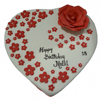 White Heart &  Red Roses cake 1.5kg