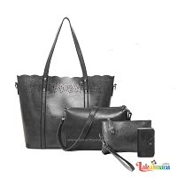 Women's 4 piece Hand Bag Black