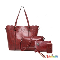 Women's 4 piece Hand Bag Brown