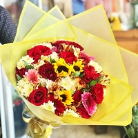Yellow wrapped Mixed Flower Bunch