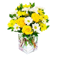 10 Yellow Roses & Chryshanthimum Flower arrangement (10-nos)