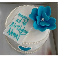 Birthday Blue Flower Cake