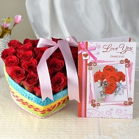 Box Of 20 Roses With Love Card