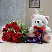 12 Red Roses With Chocolate And Teddy