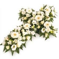Cross Shape Funeral Wreath - White 01