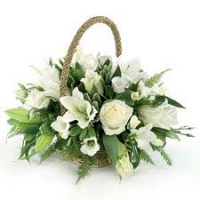 Sympathy flower basket - white