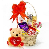 mini Choco gift basket with cute teddy