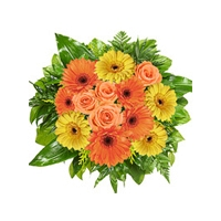Nine Mixed Gerberas, four Orange Roses and Green leaves  in a Bu