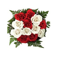 Six Red Roses and Six White Roses Bunch