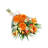 Orange Gerberas and Orange Roses in a Shif