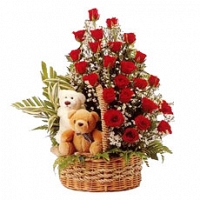 Two Teddies & 25 red roses in same basket